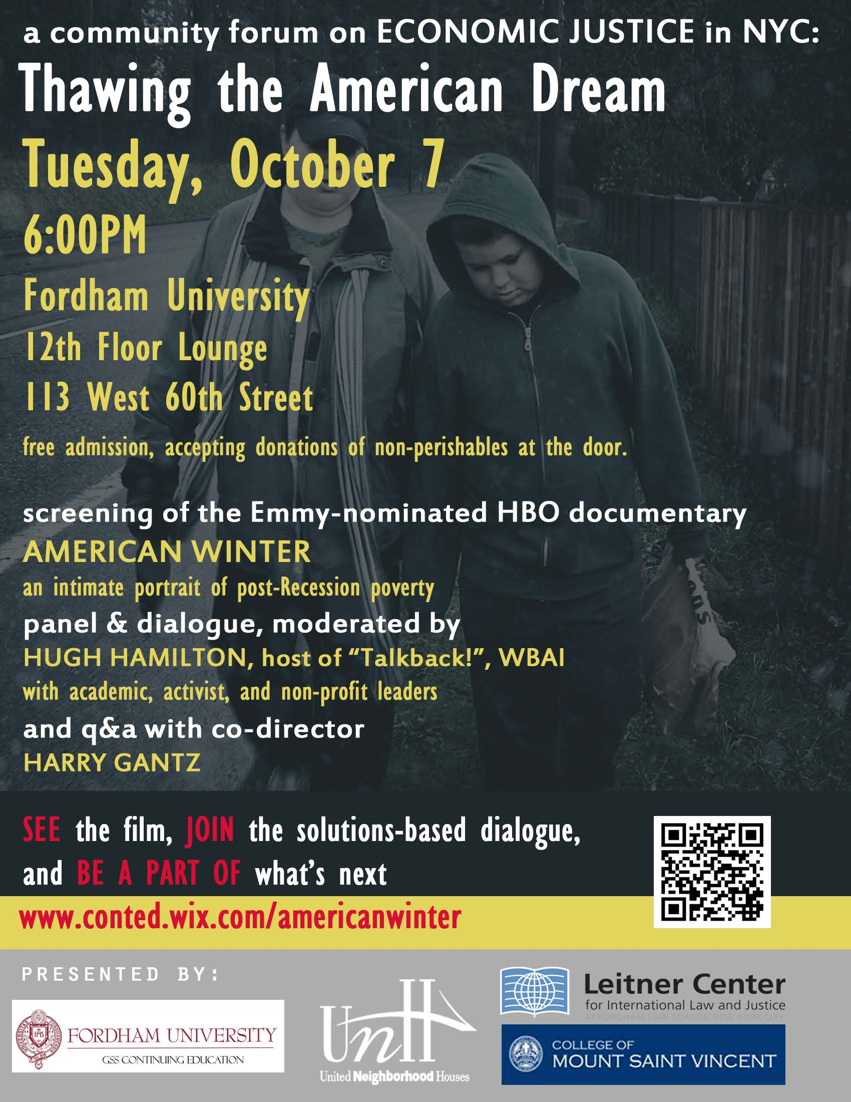 Film Screening and Community Forum on Economic Justice: Thawing the American Dream