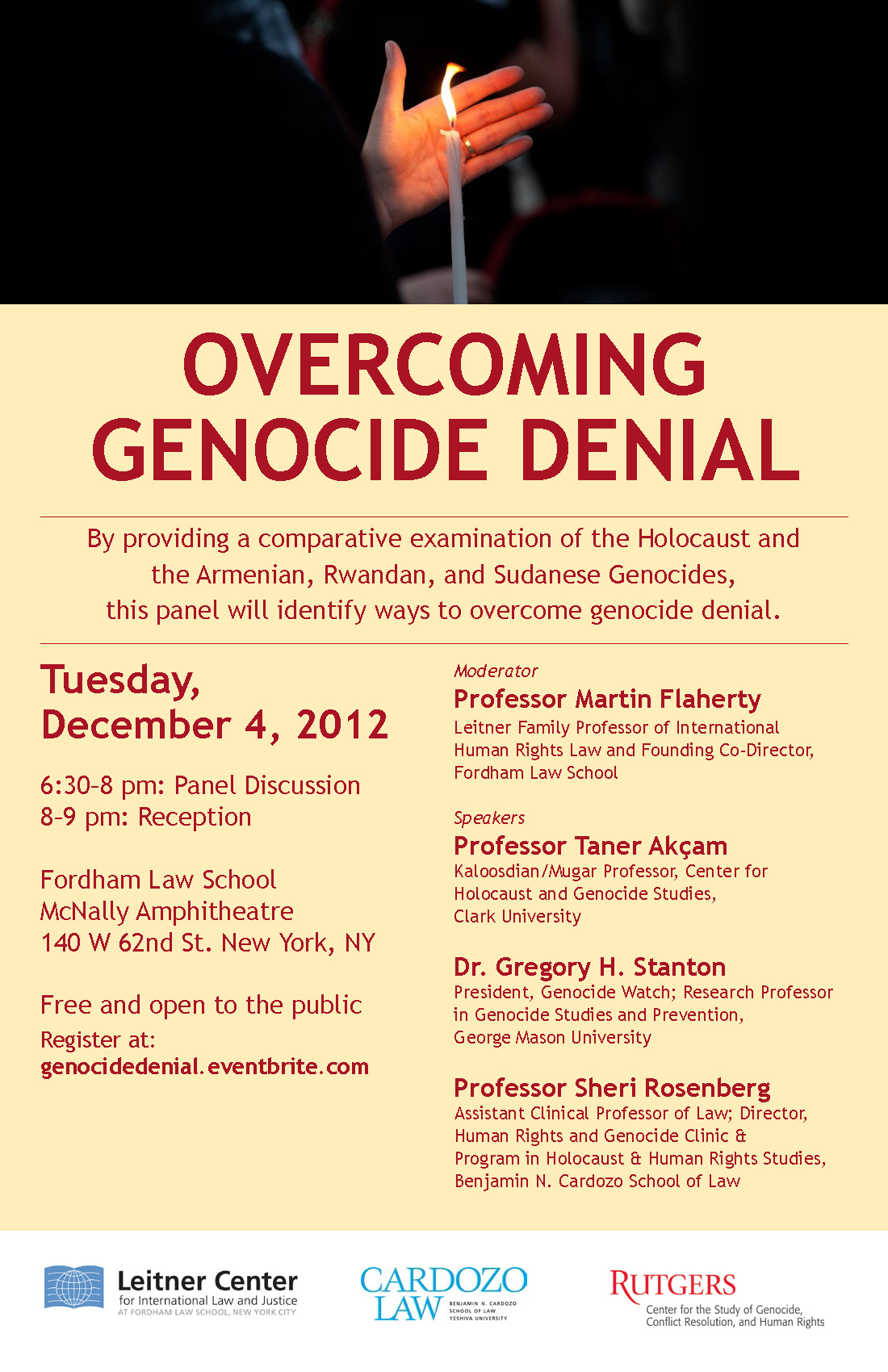 Overcoming Genocide Denial poster_Dec 4 at Fordham Law School, 6:30 pm